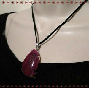Agate Geode Slice Handmade Pendant+Suede Necklace